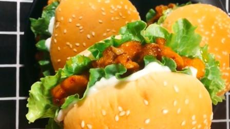 自制鸡腿汉堡,比肯德基的健康美味,隔壁小孩都馋哭了!