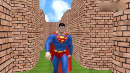 吃豆大作战:超人和蝙蝠侠在迷宫里遇到了吃豆人