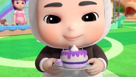 百变校巴:好多的美味蛋糕,只要大家吃完,就有恐龙勋章了!