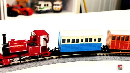 遥控电动火车, 红色托马斯车头蓝色桔黄色车厢,儿童玩具亲子互动
