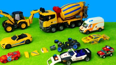少儿益智游戏,惯性工程车玩具,黄色搅拌车挖掘机敞篷小汽车,组装红色小汽车越野车,儿童玩具亲子互动