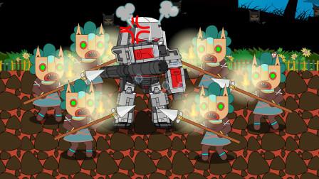 迷你世界格斗动画第209集:变形金刚威震天、野人插火把点亮地图