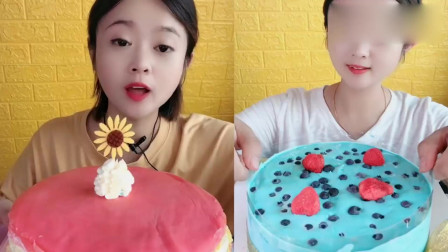 小姐姐吃播:彩虹千层、蓝莓爆浆蛋糕,一口超过瘾,我向往的生活