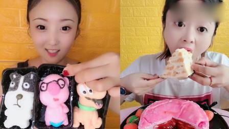 小姐姐吃播:卡通棉花糖、芒果千层蛋糕,甜品口味任选,向往的生活