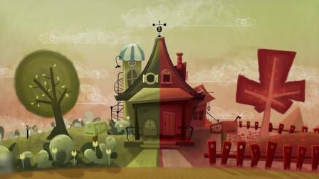 动画:俩老人因爱好不同,竟将房子染成两个颜色,太可爱了!