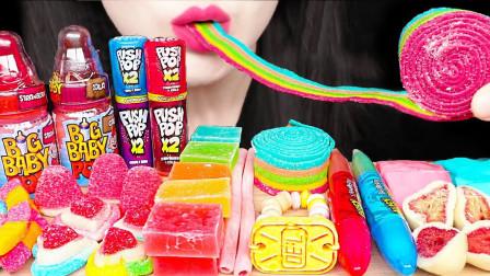 小姐姐吃外国流行糖果,竟然还有大大卷,值得闭上眼睛品尝!