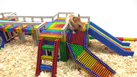 磁力球制作小仓鼠的彩色游乐场