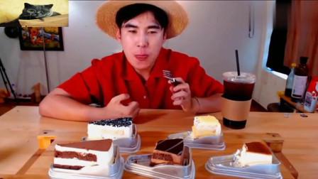 大胃王donkey哥哥点心时间吃巧克力芝士蛋糕,咖啡