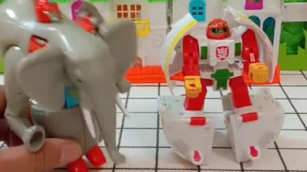 这里有个草莓蛋糕还有个大象,他们都能变成机器人,你们更喜欢哪个呢?