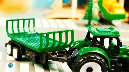 遥控电动工程车玩具,农场绿色四轮拖车,儿童玩具亲子互动,悠悠玩具城