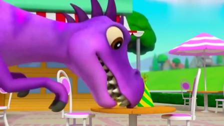汪汪队立大功:大恐龙打扰别人吃蛋糕,汉堡不够大恐龙吃,实在贪心哦