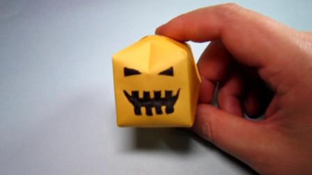手工折纸,立体南瓜灯的折法,简单易学趣味多
