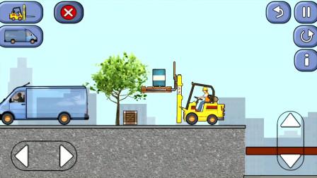 工程车施工 铲车乘云梯为卡车装货 阿克叔亲子游戏
