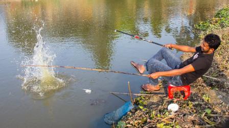养鸭的水塘有鱼无人钓,大哥连抛几竿,大鱼连连上钩,太爽了!