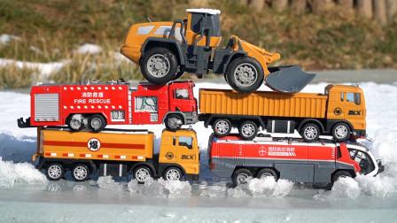 儿童益智小汽车,消防车油罐车卡车推土机工程车玩具模型