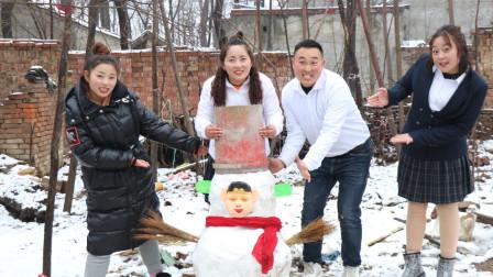 校园下乡记:老师带同学们推雪人,没想却堆个八戒大雪人,真好看