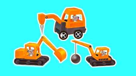 学习认识12辆工程车 钻孔机功能认知 阿克叔亲子游戏