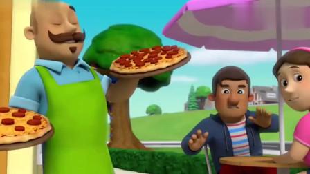 汪汪队:臭鼬来到披萨店,雅丽的爷爷让客人们赶快跑,那么这是怎么了