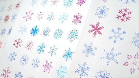 【柯小逸】画100片雪花!你是怎么画雪花的?雪花简笔画法大全