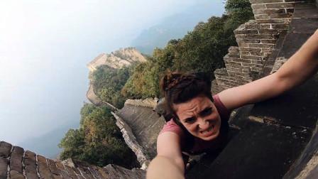 英国美女来中国爬长城,看到台阶也是无语了:这也算长城?