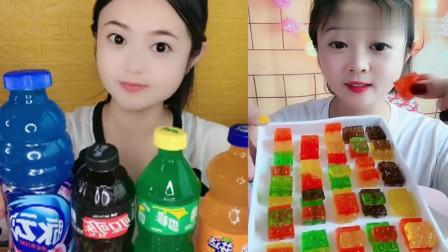 可爱小姐姐试吃:小姐姐吃彩色芬达果冻,一口超过瘾