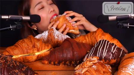 韩国大胃王吃一桌牛角包,用手拿着直接啃,看完真佩服她的胃口!
