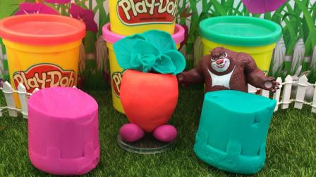 培乐多彩泥蔬菜玩具,熊出没熊大制作彩泥!