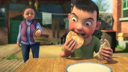 农村娃奶奶去给爷爷送饭,东东在家大口大口的吃饼!
