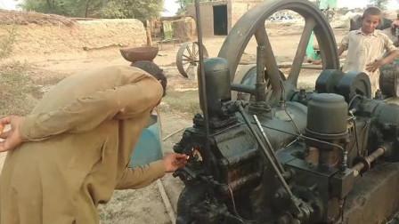 巴基斯坦农村的老式柴油机,真正的点火启动
