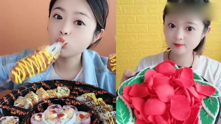 小美女吃播:拉丝热狗棒、巧克力花瓣糖,香甜美味,你想吃吗