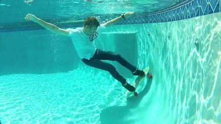 """几位小哥挑战""""水下滑板"""",还大胆做出了高难度动作,这招玩的太狠了"""
