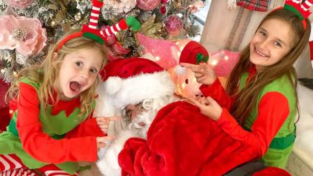 咋办?两个萌宝小萝莉能帮圣诞老人派送礼物吗?趣味玩具故事