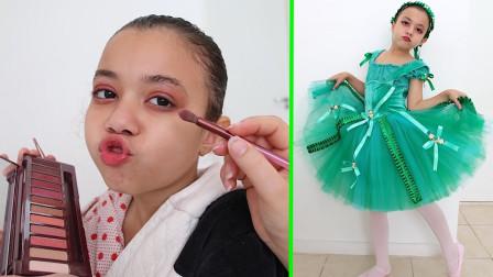 好漂亮!萌宝小萝莉盛装打扮要去参加芭蕾舞演出!趣味玩具故事