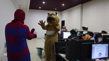 蜘蛛侠真人版:熊大闯入人类办公室,蜘蛛侠出马消灭,维护和平
