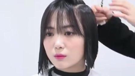 脸圆发量少可以尝试这款韩系中短发  看着时尚有气质
