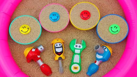 玩沙子模型玩具,用五金工具挖彩色沙杯的好玩奇趣蛋!