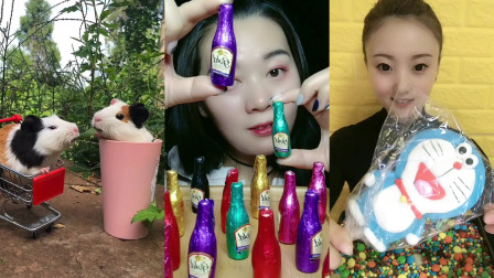 美女小姐姐创意吃播:彩色巧克力小酒瓶、蓝色机器猫,都是孩子们喜爱的玩具美食,吃起来嘎嘣脆
