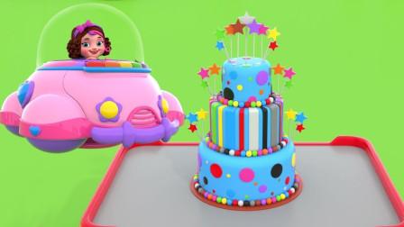 制作三层彩色糖果蛋糕和电话机玩具