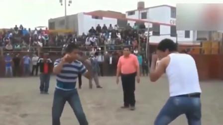 西班牙民间自由搏击,无规则无套路,开打就是王八拳
