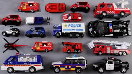 警车工程救援汽车玩具展示