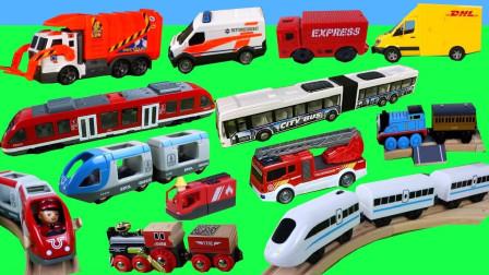 展示环保车消防车木制小火车玩具