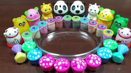 DIY奶油裱花袋,小熊猫、小蘑菇、眼镜材料混合水晶泥,自制无硼砂史莱姆