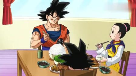 龙珠:悟空为修炼吃米饭一粒一粒吃,老婆孩子还以为他生病了呢