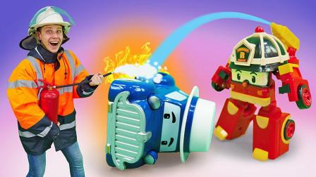 太棒了!变形警车们是如何救出马斯提老爷车?趣味玩具故事