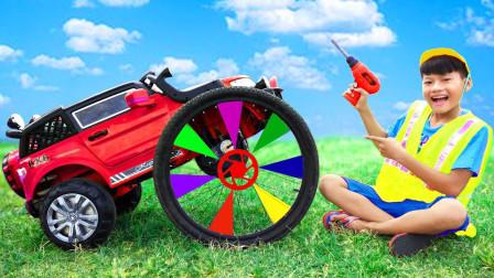 咋回事?萌宝小正太为何给汽车安装上单车的轮子?趣味玩具故事