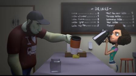 搞笑短片《丧尸咖啡店》,老板娘经营奇特咖啡店,她的顾客是丧尸