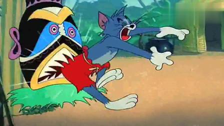 猫和老鼠:杰瑞假扮食人族,汤姆半信半疑,也不敢反抗