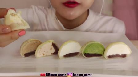 吃货小姐姐:小姐姐吃播牛奶、抹茶、巧克力麻薯冰淇淋,发出的咀嚼声!