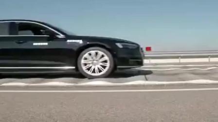 遇到一排减速带, 奥迪A8的魔毯悬挂告诉你什么叫如履平地