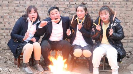 校园下乡记:老师和同学们吃烤香肠,结果小楠一口吃一个,太逗了